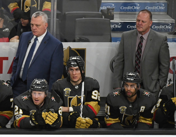 Pittsburgh Penguins v Vegas Golden Knights [team,ice hockey,event,official,team sport,stick and ball games,crew,mike kelly,gerard gallant,r,tomas nosek 92,l-r,vegas golden knights,pittsburgh penguins,team,l,game]