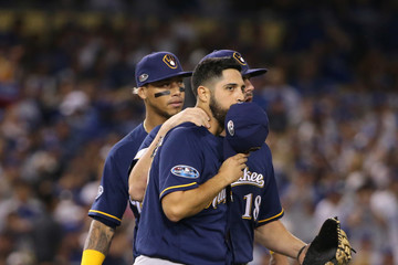 Mike Moustakas League Championship Series - Milwaukee Brewers vs. Los Angeles Dodgers - Game Four