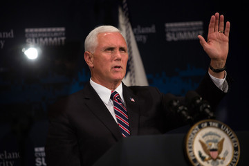 Mike Pence Department Of Homeland Security Holds National Cybersecurity Summit In NYC