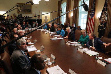 Mike Pence Mick Mulvaney President Trump Hosts Cabinet Meeting At The White House