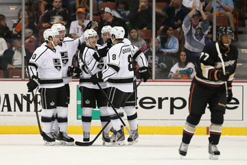 Mike Richards Jeff Carter Los Angeles Kings v Anaheim Ducks