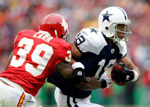 Miles Austin and Brandon Carr - Dallas Cowboys v Kansas City Chiefs