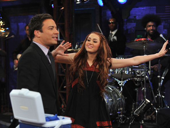 "Miley Cyrus Miley Cyrus and Jimmy Fallon appear on ""Late Night with Jimmy Fallon"" at Rockefeller Center on March 3, 2011 in New York City."