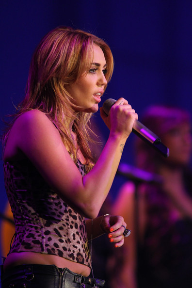 "Miley Cyrus Mylie Cyrus performs at the Starkey Hearing Foundation's ""So The World May Hear Awards Gala"" 2011 at River Centre on July 24, 2011 in St. Paul, Minnesota."