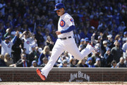 Anthony Rizzo #44 of the Chicago Cubs crosses the plate to score after a sacrifice fly by Addison Russell in the sixth inning of a game against the Milwaukee Brewers at Wrigley Field on April 29, 2018 in Chicago, Illinois. The Cubs won 2-0.