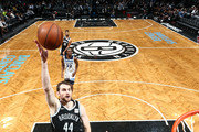 Tyler Zeller #44 of the Brooklyn Nets shoots the ball against the Minnesota Timberwolves on January 3, 2018 at Barclays Center in Brooklyn, New York. NOTE TO USER: User expressly acknowledges and agrees that, by downloading and or using this Photograph, user is consenting to the terms and conditions of the Getty Images License Agreement. Mandatory Copyright Notice: Copyright 2018 NBAE
