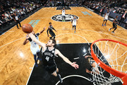 Tyler Zeller #44 of the Brooklyn Nets grabs the rebound against the Minnesota Timberwolves on January 3, 2018 at Barclays Center in Brooklyn, New York. NOTE TO USER: User expressly acknowledges and agrees that, by downloading and or using this Photograph, user is consenting to the terms and conditions of the Getty Images License Agreement. Mandatory Copyright Notice: Copyright 2018 NBAE