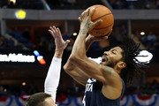 Derrick Rose #25 of the Minnesota Timberwolves takes a shot against J.J. Barea #5 of the Dallas Mavericks at American Airlines Center on October 20, 2018 in Dallas, Texas.  NOTE TO USER: User expressly acknowledges and agrees that, by downloading and or using this photograph, User is consenting to the terms and conditions of the Getty Images License Agreement.
