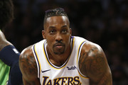Dwight Howard #39 of the Los Angeles Lakers looks on during a free throw in the fourth quarter against the Minnesota Timberwolves at Staples Center on December 08, 2019 in Los Angeles, California. NOTE TO USER: User expressly acknowledges and agrees that, by downloading and or using this photograph, User is consenting to the terms and conditions of the Getty Images License Agreement.