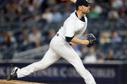 Jaime Garcia #34 of the New York Yankees throws a pitch in the top of the first inning against the Minnesota Twins on September 18, 2017 at Yankee Stadium in the Bronx borough of New York City.