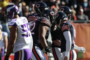 The Chicago Bears celebrate after  Robbie Gould #9 kicked a 55 yard field goal against the Minnesota Vikings in the first quarter at Soldier Field on November 1, 2015 in Chicago, Illinois.
