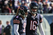 Robbie Gould #9 and  Pat O'Donnell #16 of the Chicago Bears celebrate after Gould kicked a 55 yard field goal against the Minnesota Vikings in the first quarter at Soldier Field on November 1, 2015 in Chicago, Illinois.