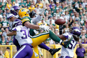 Jimmy Graham #80 of the Green Bay Packers is unable to make a catch during the fourth quarter of a game against the Minnesota Vikings at Lambeau Field on September 16, 2018 in Green Bay, Wisconsin.