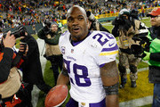 Adrian Peterson #28 of the Minnesota Vikings reacts after defeating the Green Bay Packers with a score of 20 to 13 at Lambeau Field on January 3, 2016 in Green Bay, Wisconsin.