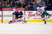 Sergei Bobrovsky #72 of the Columbus Blue Jackets stops a shot from Jonas Brodin #25 of the Minnesota Wild during the second period on January 30, 2018 at Nationwide Arena in Columbus, Ohio.