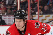 Chris Neil #25 of the Ottawa Senators prepares for a faceoff against the Minnesota Wild at Canadian Tire Centre on November 13, 2016 in Ottawa, Ontario, Canada.  (Photo by Jana Chytilova/Freestyle Photography/Getty Images) *** Local Caption ***
