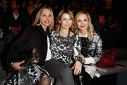(L-R) Xenia Seeberg, Tina Ruland and Regina Halmich attend the Minx by Eva Lutz show during the Mercedes-Benz Fashion Week Berlin Autumn/Winter 2015/16 at Brandenburg Gate on January 20, 2015 in Berlin, Germany.