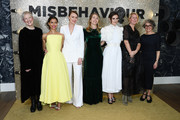 """Director Philippa Lowthorpe, Gugu Mbatha-Raw, Keeley Hawes, Rebecca Frayn, Keira Knightley, Suzanne Mackie and Gaby Chiappe attends the """"Misbehaviour"""" World Premiere at The Ham Yard Hotel on March 09, 2020 in London, England."""