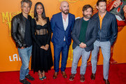 "(L-R) Timothy Olyphant, Zoe Saldana, Chris Butler, Zach Galifianakis and Hugh Jackman attend the ""Missing Link"" New York Premiere at Regal Cinema Battery Park on April 07, 2019 in New York City."