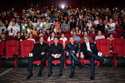 (L-R) Actors Henry Cavill, Tom Cruise, Simon Pegg and director Christopher McQuarrie attend the 'Mission: Impossible - Fallout' fan screening at The Wanda CBD  Cinema on August 29, 2018 in Beijing, China.
