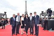 (L-R) Jim Gianopulos, Don Granger, Dana Goldberg, Elizabeth Raposo, Wyck Godfrey and David Ellison attend the Global Premiere of 'Mission: Impossible - Fallout' at Palais de Chaillot on July 12, 2018 in Paris, France.