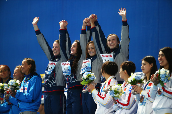 Swimming - 16th FINA World Championships: Day Thirteen [cheering,team,medal,competition,uniform,crew,championship,gesture,medalists,missy franklin,leah smith,katie ledecky,katie mclaughlin,l-r,kazan arena,united states,fina world championships,medal ceremony]
