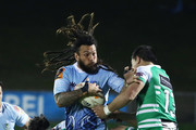 Rene Ranger of Northland (C) is tackled by Rob Thompson of Manawatu (R) during the round five Mitre 10 Cup match between Northland and Manawatu at Toll Stadium on September 14, 2018 in Whangarei, New Zealand.