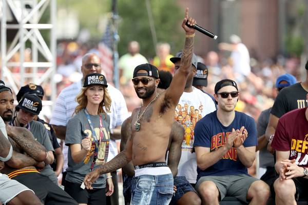 Cleveland Cavaliers Victory Parade And Rally [people,crowd,event,barechested,fan,festival,mo williams,cleveland,ohio,cleveland cavaliers,cleveland cavaliers victory parade,rally,nba championship,victory parade]