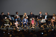 (Back row L-R) Moderator Will Marfuggi of E! News, actor Ed O'Neill, creator/writer Steven Levitan, actors Julie Bowen, Ty Burrell, Jesse Tyler Ferguson, Eric Stonestreet, Sarah Hyland, (front row L-R) Executive producer Megan Ganz, actors Nolan Gould, Aubrey Anderson-Emmons and writer Abraham Higginbotham attend a 'Modern Family' Wedding episode screening at Zanuck Theater at 20th Century Fox Lot on May 19, 2014 in Los Angeles, California.