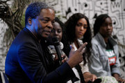 """(L-R) Simon Njami, Abrima Erwiah, Lina Iris Viktor, and Adepero Oduye speak during the Moleskine Foundation """"I had a dream"""" Exhibition Opening at The Africa Center on May 30, 2019 in New York City."""