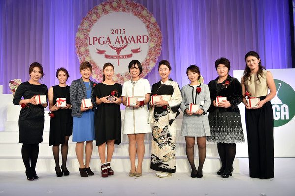 LPGA Award 2015 [lpga award,l-r,event,award ceremony,award,competition,performance,team,company,talent show,ceremony,ritsuko ryu,akane iijima,misuzu narita,erika kikuchi,miki sakai,erina hara,momoko ueda,shiho oyama]