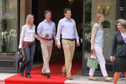 Stephanie Anne Kaul and her husband H.R.H. Bernhard, hereditary Prince of Baden, H.I.R.H. Prince Georg Friedrich of Prussia and his fiance H.S.H. Princess Sophie Johanna Maria of Isenburg are  sighted leaving the 'Hermitage' hotel before the Royal Wedding of Prince Albert II of Monaco to Charlene Wittstock in the main courtyard at  on July 2, 2011 in Monaco, Monaco.