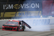 Austin Dillon, driver of the #3 Dow Chevrolet, is involved in an on-track incident during the Monster Energy NASCAR Cup Series Pocono 400 at Pocono Raceway on June 02, 2019 in Long Pond, Pennsylvania.