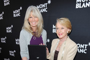 Ingrid Roosen-Trinks, Directror of Montblance Cultural Foundation, and actress Tippi Hedren arrive at the Montblanc Jewellery Brunch Celebrating Collection Princesse Grace De Monaco at Hotel Bel-Air on February 25, 2012 in Los Angeles, California.