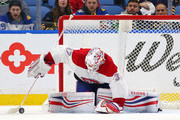 Antti Niemi #37 of the Montreal Canadiens makes the save against the Buffalo Sabres during the third period at KeyBank Center on March 23, 2018 in Buffalo, New York. Antti Niemi registered a shutout.