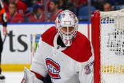 Antti Niemi #37 of the Montreal Canadiens tends net against the Buffalo Sabres during the second period at KeyBank Center on March 23, 2018 in Buffalo, New York.