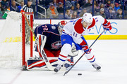 Brendan Gallagher #11 of the Montreal Canadiens attempts to get a shot off on Sergei Bobrovsky #72 of the Columbus Blue Jackets during the game on March 12, 2018 at Nationwide Arena in Columbus, Ohio. (Photo by Kirk Irwin/Getty Images) *** Local Caption *** Brendan Gallagher;Sergei Bobrovsky