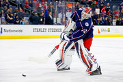 Sergei Bobrovsky #72 of the Columbus Blue Jackets warms up prior to the start of the game against the Montreal Canadiens on March 12, 2018 at Nationwide Arena in Columbus, Ohio.