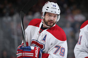 Andrei Markov #79 of the Montreal Canadiens looks on during a break in the action against the Colorado Avalanche at Pepsi Center on February 17, 2016 in Denver, Colorado.