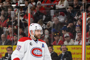 Andrei Markov #79 of the Montreal Canadiens looks on prior to a face-off in Game Six of the Eastern Conference Quarterfinals against the Ottawa Senators during the 2015 NHL Stanley Cup Playoffs at Canadian Tire Centre on April 26, 2015 in Ottawa, Ontario, Canada. The Montreal Canadiens eliminated the Ottawa Senators by defeating them 2-0 and move to the next round of the Stanley Cup Playoffs.