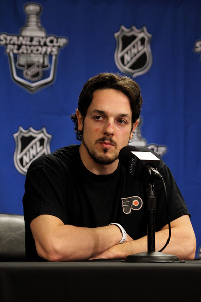 Danny Briere of the Philadelphia Flyers talks to the media after defeating the Montreal Canadiens to win Game 1 of the Eastern Conference Finals by a score of 6-0 during the 2010 NHL Stanley Cup Playoffs at Wachovia Center on May 16, 2010 in Philadelphia, Pennsylvania.