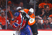 Wayne Simmonds #17 of the Philadelphia Flyers checks Andrei Markov #79 of the Montreal Canadiens during the second period at the Wells Fargo Center on February 2, 2017 in Philadelphia, Pennsylvania.
