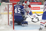 Andrei Markov #79 of the Montreal Canadiens is stopped on a point blank shot by Jonathan Bernier #45 of the Toronto Maple Leafs in the NHL season opener at the Air Canada Centre on October 8, 2014 in Toronto, Ontario, Canada. The Canadiens defeated the Leafs 4-3.