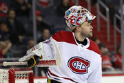 Goalie Antti Niemi #37 of the Montreal Canadiens looks on in the second period against the Washington Capitals at Capital One Arena on January 19, 2018 in Washington, DC.