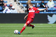 Dax McCarty #6 of Chicago Fire sends the ball forward in the first half against the Montreal Impact during an MLS match at Toyota Park on April 1, 2017 in Bridgeview, Illinois.