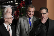 (L-R) Bob Balaban, Hugh Bonneville and Matt Damon attend 'The Monuments Men' premiere during 64th Berlinale International Film Festival at Berlinale Palast on February 8, 2014 in Berlin, Germany.