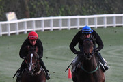 Stephen Baster riding Hush Writer (L) and Dwayne Dunn riding Northwest Passage during Moonee Valley Gallops at Moonee Valley Racecourse on September 4, 2018 in Melbourne, Australia.
