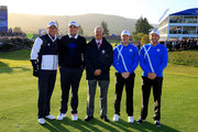 (L-R) Phil Mickelson and Keegan Bradley of the United States, referee Mats Lanner and Rory McIlroy and Sergio Garcia of Europe pose on the 1st tee during the Morning Fourballs of the 2014 Ryder Cup on the PGA Centenary course at the Gleneagles Hotel on September 26, 2014 in Auchterarder, Scotland.