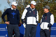 Phil Mickelson (C) of the United States with partner Keegan Bradley (L) talk to United States team captain Tom Watson on the 6th tee during the Morning Fourballs of the 2014 Ryder Cup on the PGA Centenary course at the Gleneagles Hotel on September 26, 2014 in Auchterarder, Scotland.