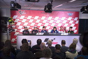 (L-R) Dani Pedrosa of Spain and Repsol Honda Team, Marc Marquez of Spain and Repsol Honda Team, Jorge Lorenzo of Spain and Movistar Yamaha MotoGP, Valentino Rossi of Italy and Movistar Yamaha MotoGP, Andrea Iannone of Italy and Ducati Team and Bradley Smith of Great Britain and Monster Yamaha Tech 3 look. during the press conference pre-event during the MotoGP Netherlands - Preview at  on June 24, 2015 in Assen, Netherlands.